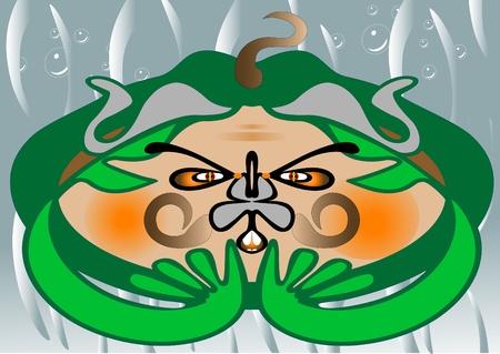 marvel: Gr�ne Frosch im Wasser sitzen.Monster. Abbildung. Illustration
