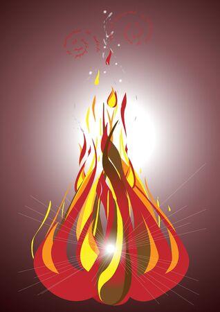 Bonfire with flying sparks against the dark background.Illustration.