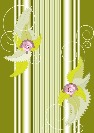 Frame of flowers with columns on the greenish fone.Banner.Background. Stock Vector - 9716416