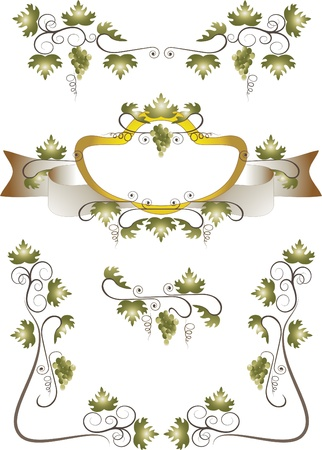 Decorative frame, corner of grape and branches with leaves.Pattern Illustration