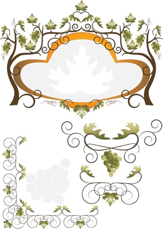 Decorative label, corner of grape and branches with leaves.Pattern Vector