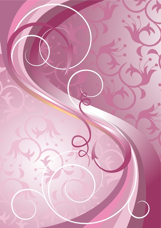 raspberry pink: Waves and stripes on a light purple background.Banner.Background.  Illustration