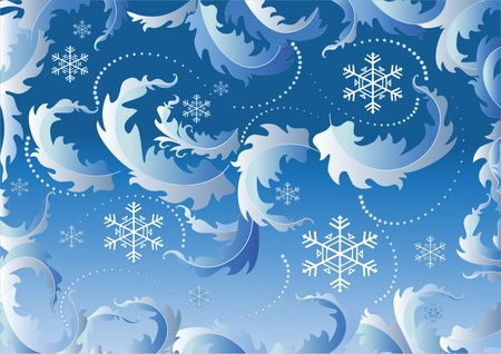 rime: Background with snowflake greeting card with the Christmas