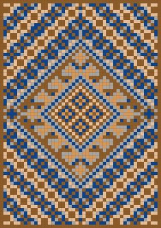 stockinet: Variegate geometric pattern for rug. Illustration