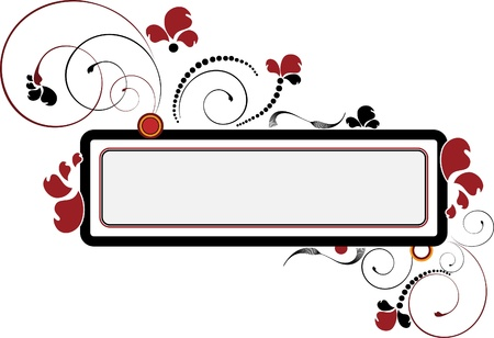 orange swirl: Banner with the flower and beads on a background frame.Banner. Illustration