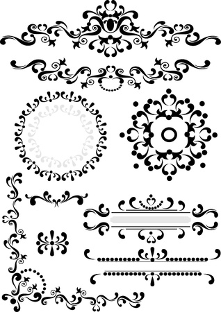 Black ornament corner,border,frame  on a white background. Graphic arts. Illustration