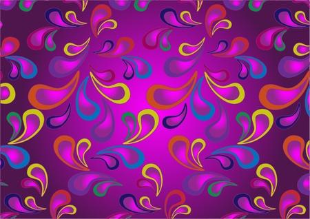 Variegated paisley pattern on a dark purple background.Wallpaper.