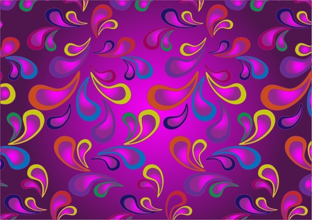 Variegated paisley pattern on a dark purple background.Wallpaper. Vector