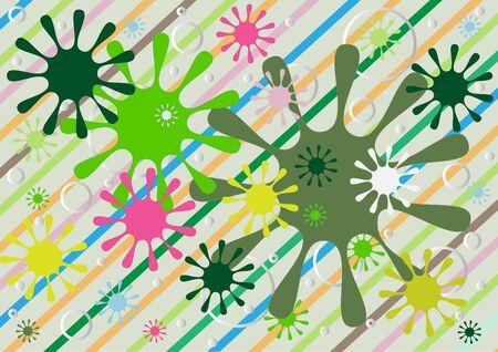 abstracte vormen: Abstracte vormen op een kleurrijke gestreepte background.Background.Wallpaper