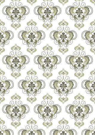 Eastern floral pattern on a light background. Wallpaper. Illustration