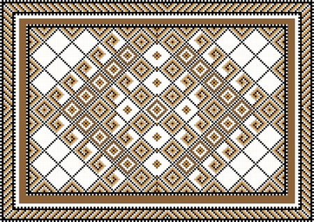 oriental rug: Geometric pattern  for the rug and the ornamental details for the frame.