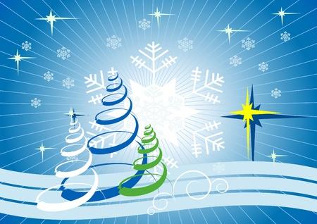 Christmas card with snowflakes and Christmas trees.Postcard. Illustration
