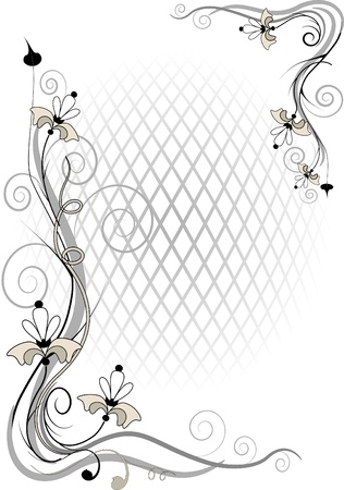 Decorative frame and corner of the flowers of  by volume grid.  Illustration