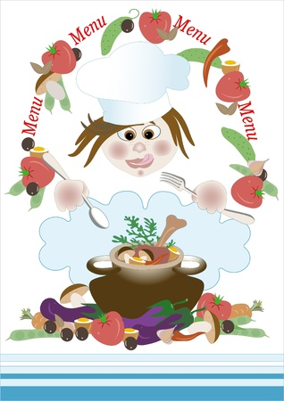 funny tomatoes: Form menu with the chef and food. Frame. Banner