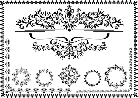 Black ornamental border, frame on a white background. Graphic arts.Banner. Vector