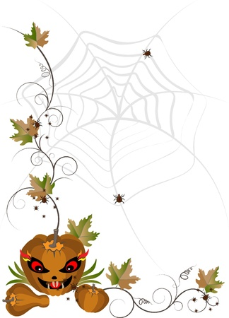 Corner of pumpkins and leaves on a background of spider webs.Banner. Vector
