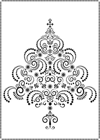 Openwork Christmas tree on a white background.Graphic arts.