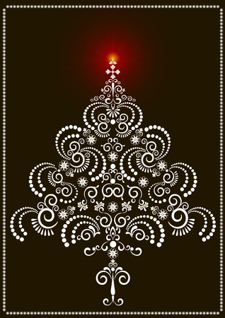Openwork tree with a bright star on a dark background.Card
