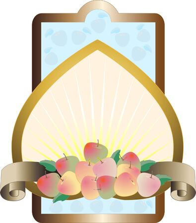 jams: Label with the apples on the background of yellow rays.Label. Frame. Illustration