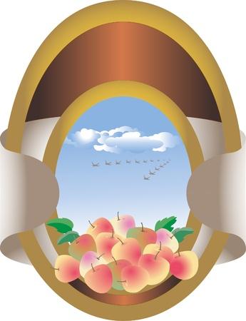 jams: Decorative label, frame with apples in the sky. Label. Frame Illustration