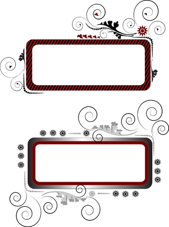 Two banners with curved beads and decorative leaves.Banner. Background. Vector
