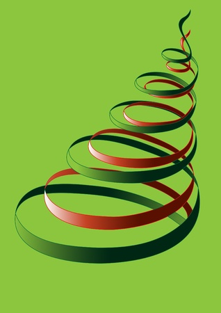 The abstract tree of curves on a green background.Postcard.Background Vector