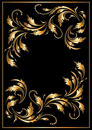 Gold  frame in the Gothic style on a dark background. Banner.Frame. Vector