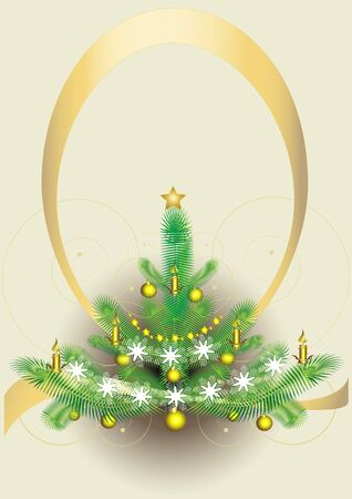 New years fluffy fir-tree with bright toys in an oval frame.Postcard. Vector