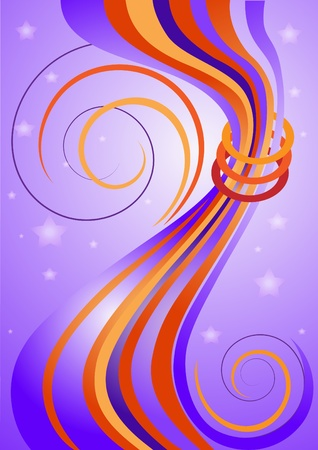 Abstract colorful curved bars and stars on purple background.Banner.Background. Vector