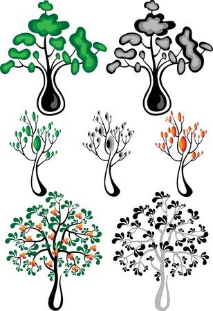 abstracte vormen: Abstracte vormen van de verschillende soorten bomen met leaves.Illustrations