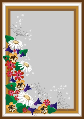 Frame with a corner of the wild flowers on a gray background.  Vector