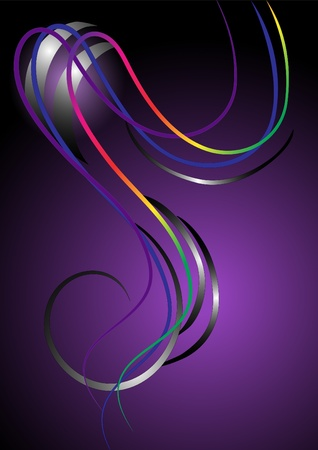 Abstract bright curved stripes on purple background.Banner.Background. Vector