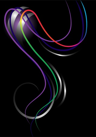 oscillation: Abstract bright curved stripes on a black  background.Banner.Background. Illustration