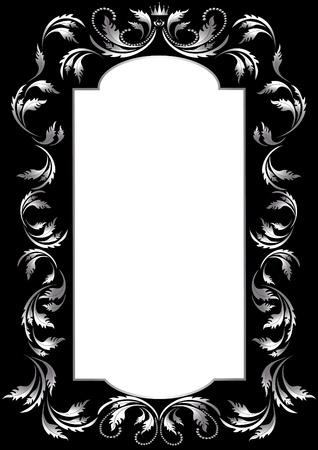 Frame of silver leaf in old style on a black background. Banner.Frame. Vector