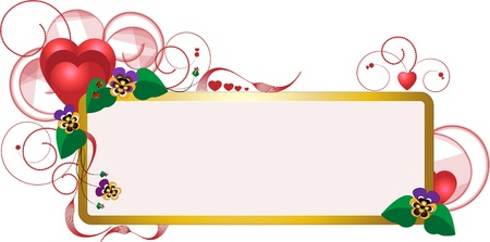 Elegant frame with heart and decorated with flowers and beads.Postcard. Vector