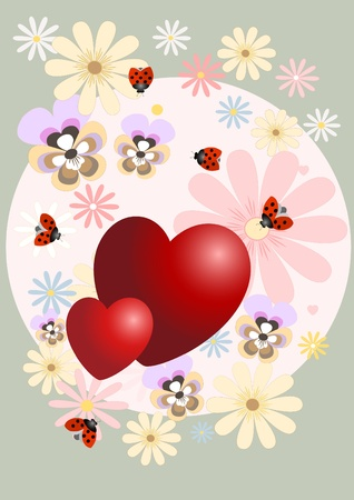 Red heart with the decor of flowers on a pink background.Postcard. Vector