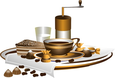 Coffee-grinder, cup of coffee and dessert on a white napkin.Pattern Vector