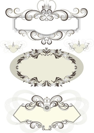 antic: Vintage frame decorated with crown and the curves.Banner.