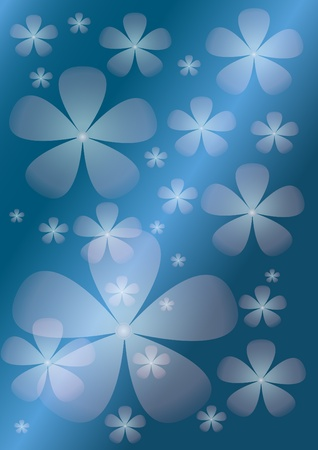 Abstract blue background with  transparent  flower. Background. Illustration