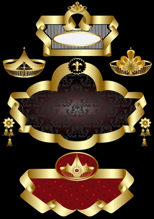 Three old frame with gold detail on a black background.Banner. Illustration