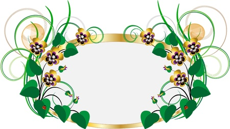 flowers fluffy: Gold frame with bouquets of violets on a white background.