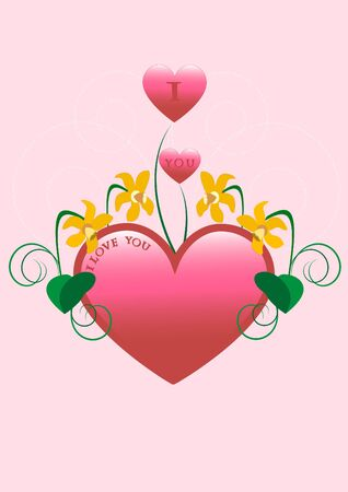 Red heart decorated with narcissus and curves.Postcard. Vector