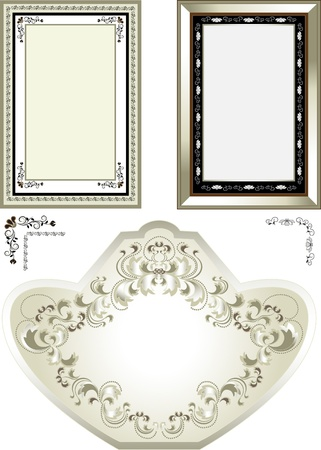 Classic frame with vintage designs of flowers and curved petals.Frame.Banner Vector