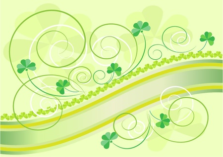 Petals clover decoration on a light green background.Postcard. Vector