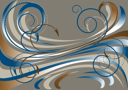 Blue and brown waves, and arrows on a dark gray background.Banner. Vector