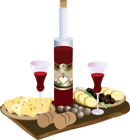 Bottle of red wine glasses, cheese and quail eggs.Pattern Vector