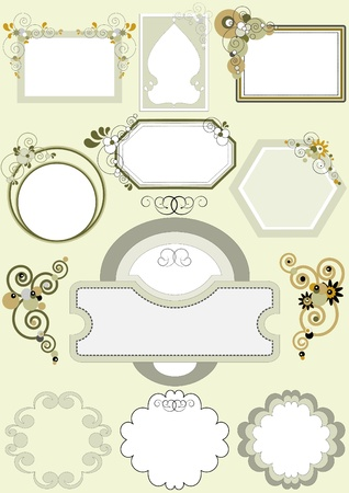 Options for frames with different patterns of curves and circles.Frame.Banner Stock Vector - 12401626