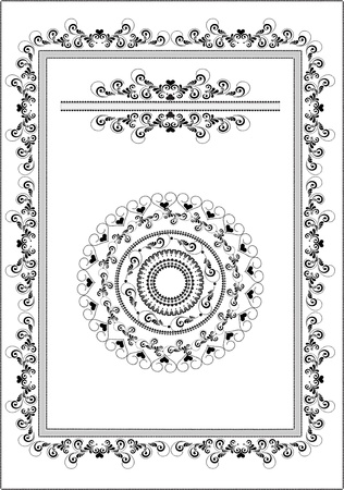 Black ornament frame, border on a white background. Graphic arts. Vector