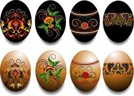 Painted Easter eggs with a pattern. Design. Vector