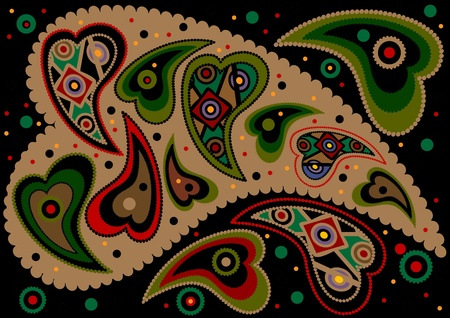 Abstract colored oriental paisley on a black background Illustration